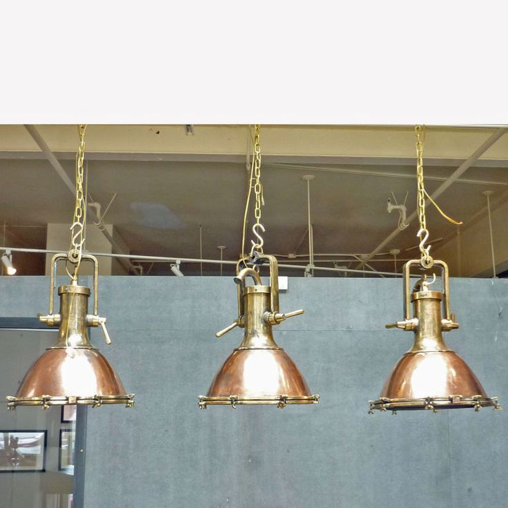 Vintage Copper and Brass Ship Deck Light | From a unique collection of antique and modern chandeliers and pendants at http://www.1stdibs.com/furniture/lighting/chandeliers-pendant-lights/