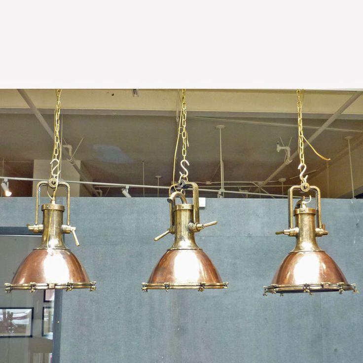 Vintage Copper And Brass Ship Deck Light Antiques