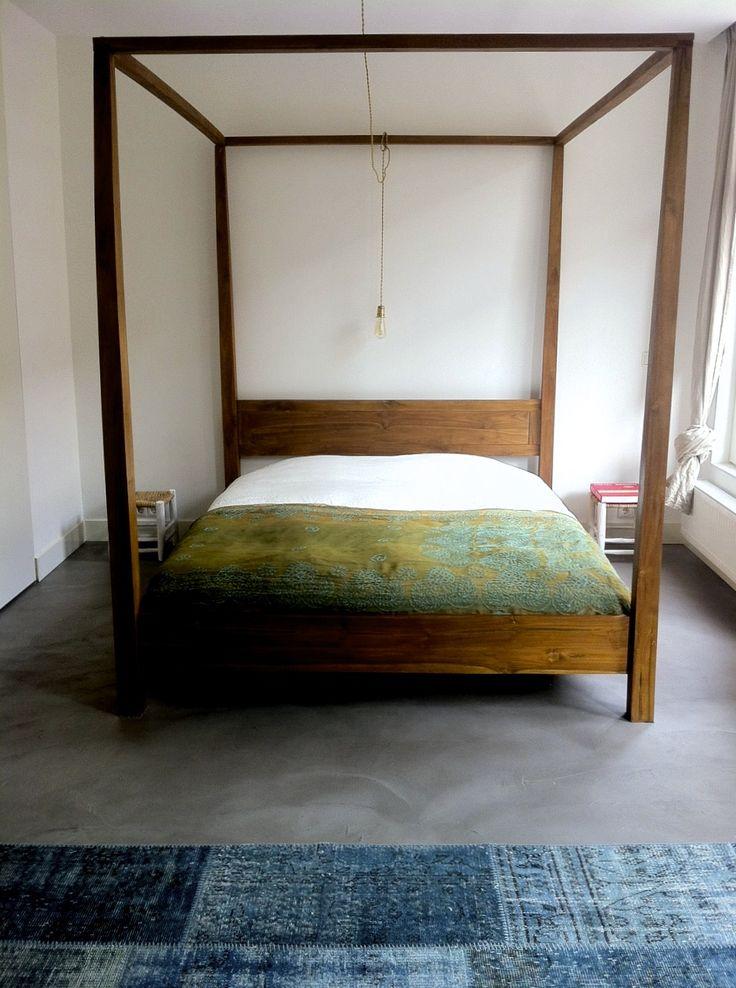 URBAN DESIGN APARTMENT - AMSTERDAM - ROOMS - ROOS - INTERIOR DESIGN - BETON CIRRE - BED - BLUE