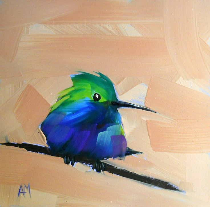 Hummingbird no. 26 original bird oil painting by moulton 6 x 6 inches…