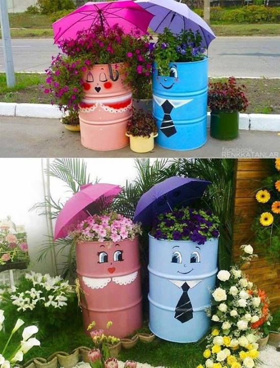 Top 10 Awesome Ideas for you Garden - Just another simple idea to decorate your garden by taking large steel or plastic drums.