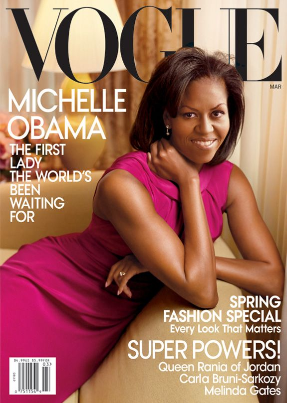 Michelle Obama graces the cover of magazines like Vogue, Ebony, More, Prevention, Newsweek, Essence, O (Oprah's Magazine), Us, and People.