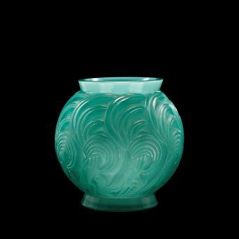 Bresse Vase by Rene #Lalique, designed in 1931 | Corning Museum of Glass #glass #green #greenglass