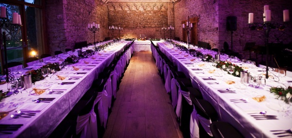 Notley Abbey Monk's Refectory - long tables for Wedding Breakfast - Image by Richard Galloway