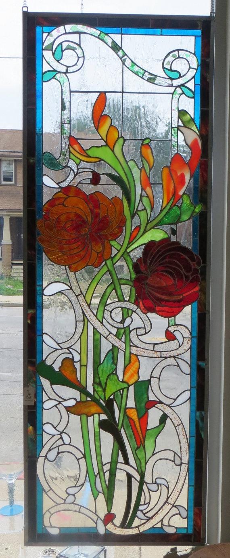 Franklin art glass studios inc clear cotswold glass 3 320 - Art Nouveau Stained Glass Panel By Alchemyartglass On Etsy 1000 00