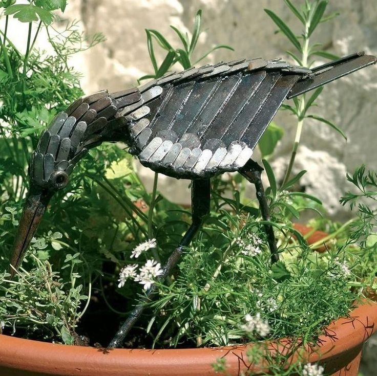 Sandpiper metal bird sculpture