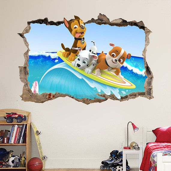 paw patrol in holiday SMASHED - 3D WALL STICKER  CHOOSE DESIRED SIZE - You may choose between 3 different sizes: 1. Small: 60cm x 40cm ⇔ 23.62 X 15.75 2. Large: 90cm x 60cm ⇔ 35.43 X 23.62 3. Huge: 120cm x 80cm ⇔ 47.25 X 31.50 ========================================= Easy to install - Jus...