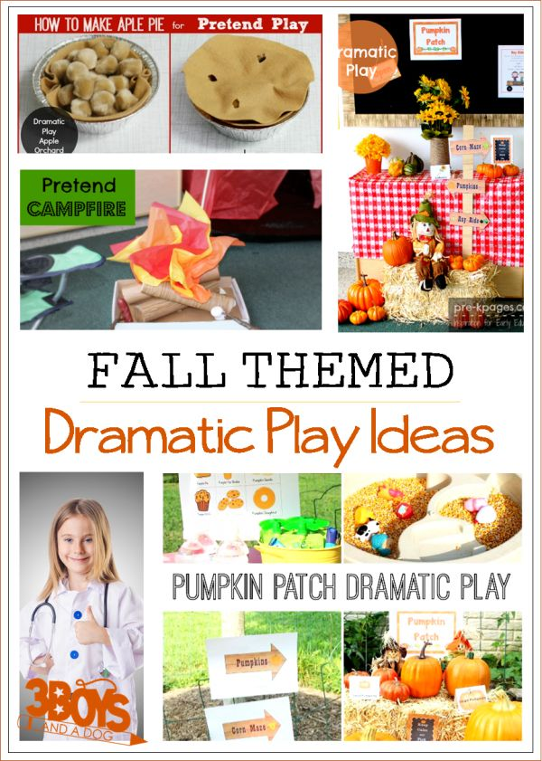 Fall theme dramatic play ideas for preschool and kindergarten!