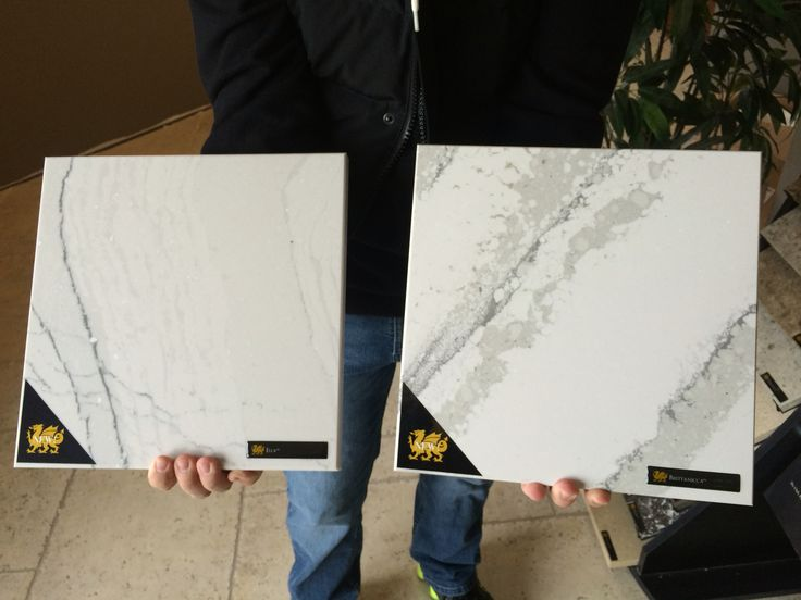 Cambria's new marble collection- Ella on the left and Brittanicca on the right.... Would look great on an island!
