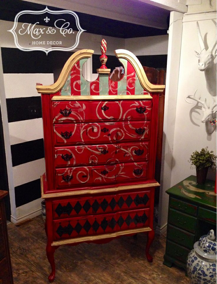 High Boy Chest Of Drawers, Chalk Paint, Painted Furniture, Harlequin,  Stripes,