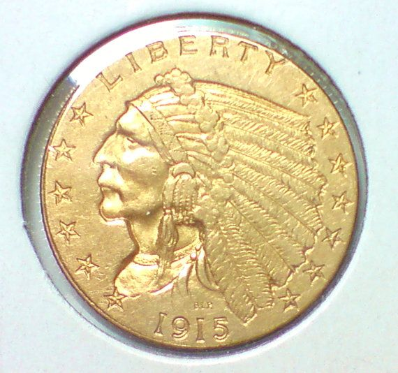 Solid Gold Usa Coin 1915 250 Dollar Indian Quarter By