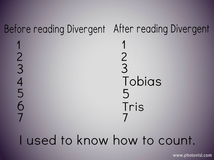 I used to know how to count, too. I have to admit that whenever I see the numbers 4 and 6 I think of Tobias and Tris.