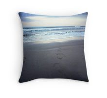 Foot prints at dawn on empty sandy beach sea side Hasselblad square medium format film analogue photograph Throw Pillow