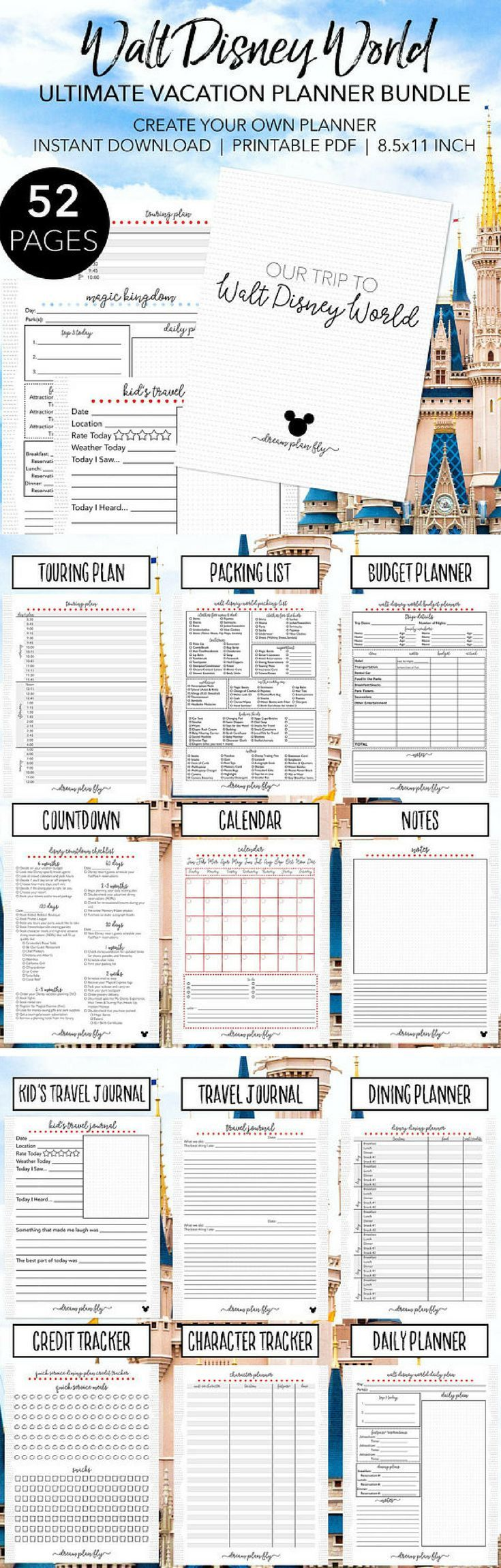 Ultimate Walt Disney World Planner | 52 Pages of planning | Create Your Own Disney World Printable Planner | INSTANT DOWNLOAD | Letter Size #ad #disneyland #disneyworld #disneybound #disneystyle #disneyvacation #vacation #planner #planning #planneraddict #plannerlove #plannercommunity #plannergirl #printable #print #download #downloadandprint