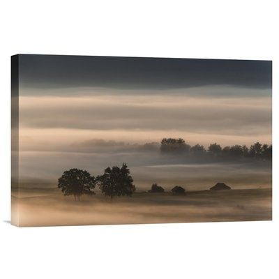 """Global Gallery 'Dense Fog over the Moos' by Nina Pauli Photographic Print on Wrapped Canvas Size: 12"""" H x 18"""" W x 1.5"""" D"""