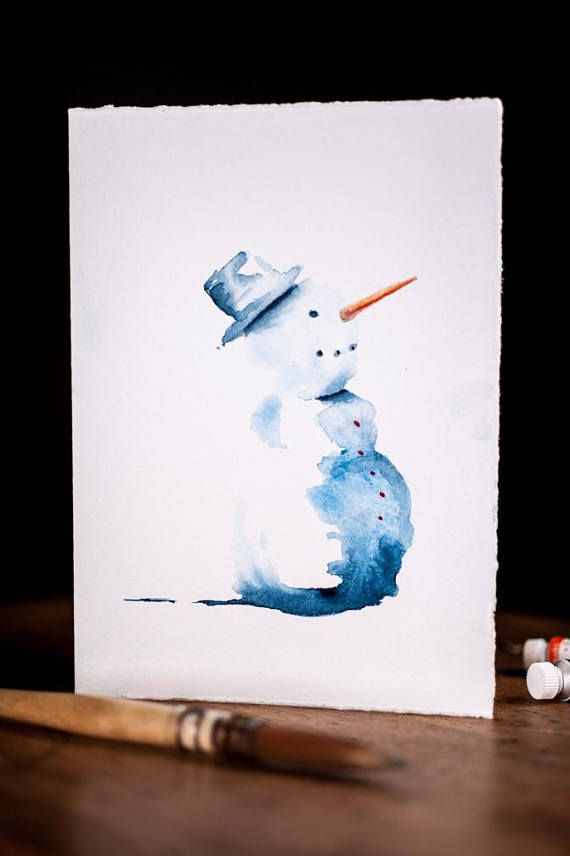 Unique watercolor Christmas gift, The perfect gift! A card and a gift all in one. This is not a print but a one of a kind watercolour card, hand painted. The painting will be packaged in a clear envelope, it will have a certificate describing the painting. The card has deckled edges on