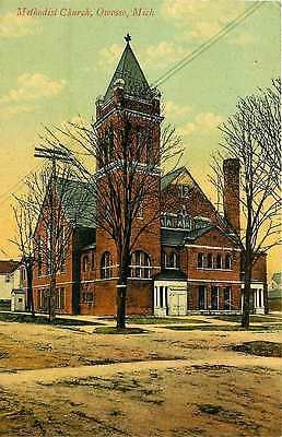 Owosso Michigan MI 1908 Methodist Church Collectible Antique Vintage Postcard