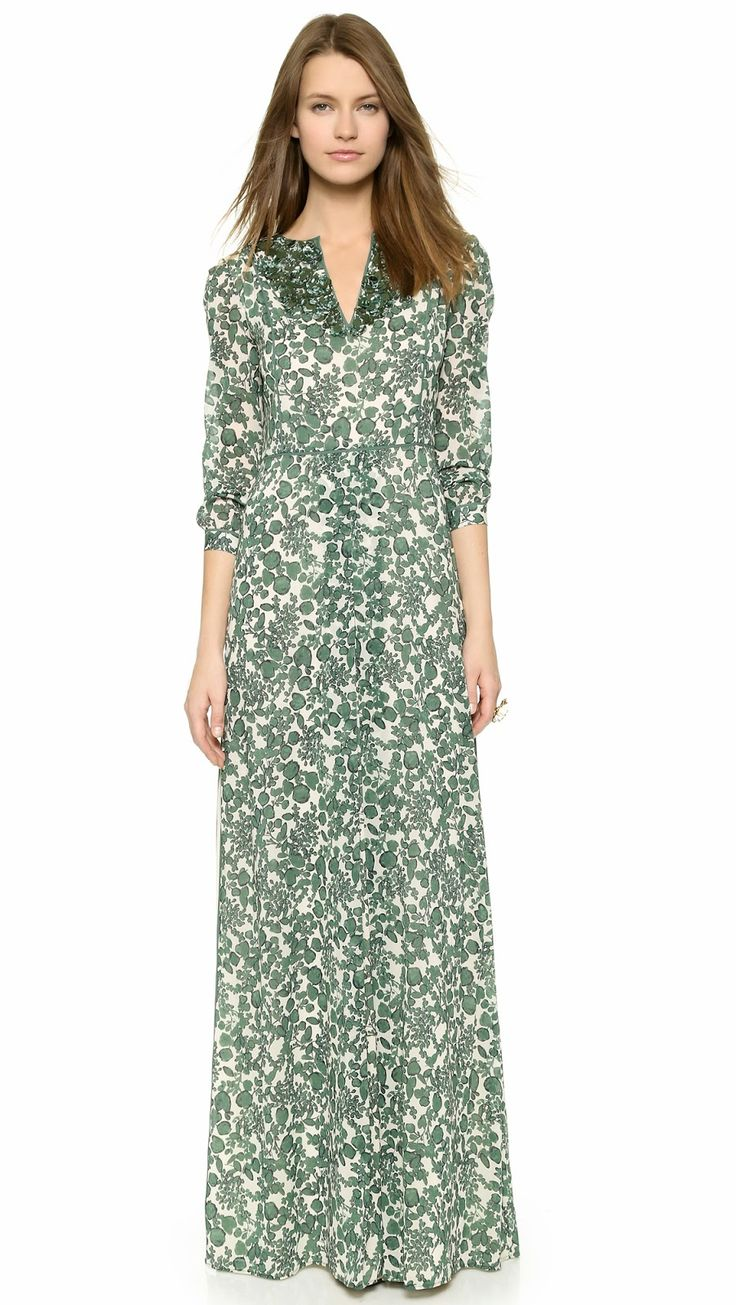 Tory Burch modest dress long sleeve printed maxi dress |  Follow Mode-sty for stylish modest clothing #nolayering