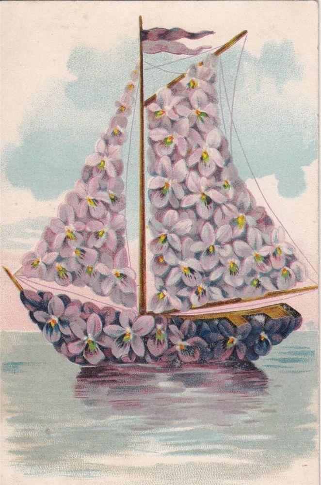 BU03.Vintage Postcard. Sailing boat. Violets. Flowers.