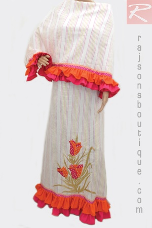 A Cream Color Rida With Multicolor Stripes Fabric With frill And Centre Bunch Patch Work.  Price-Rs.2252