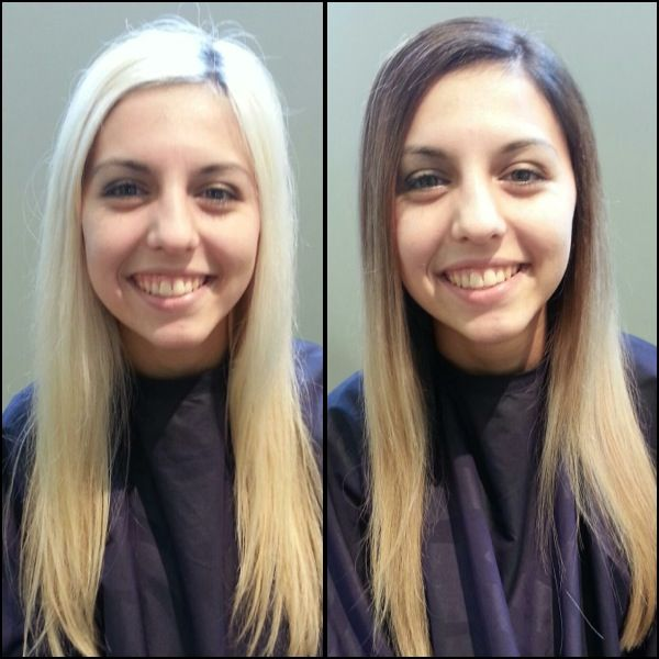 My before and after! From bleach blonde to a dark brown to ...