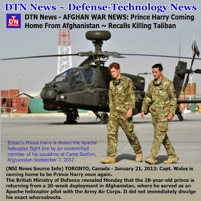 DTN News - AFGHAN WAR NEWS: Prince Harry Coming Home From Afghanistan ~ Recalls Killing Taliban