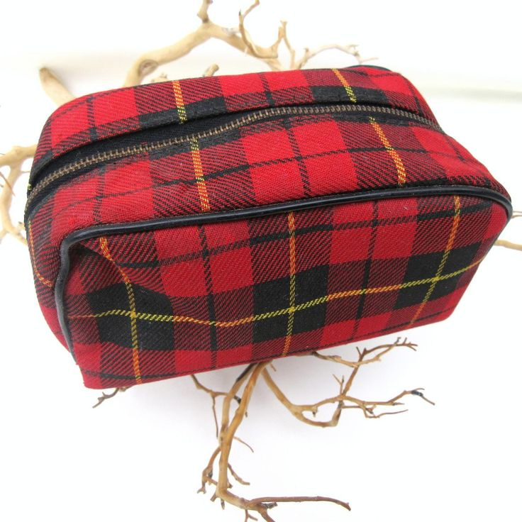 Vintage Plaid Bag, Tartan Shaving Kit, Small Cosmetic Bag, Houndstooth Vinyl,  Toiletry Storage Case by WhimzyThyme on Etsy