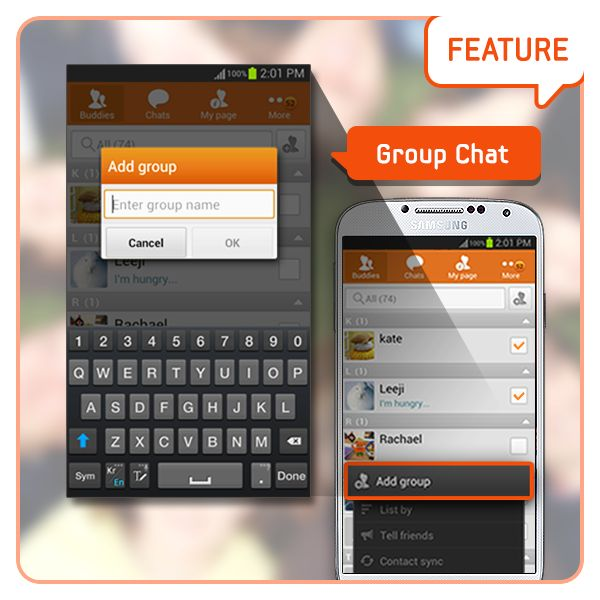 [Feature] ChatON Group Chat/ Let's gather who want to chat together! Through the 'Add group' feature, you can create a chatting room with a name you want, and chat anytime. [기능소개] 그룹채팅기능/ 함께 대화 하고 싶은 사람 모두모두 모여! 그룹 추가 기능으로 나만의 그룹 명을 만들고, 원할 때는 언제든지 채팅 할 수 있답니다.