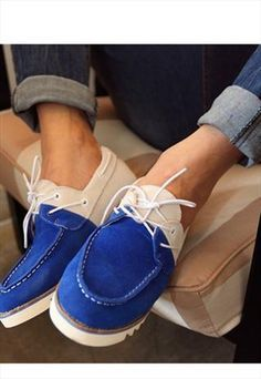 Bright suede boat shoes