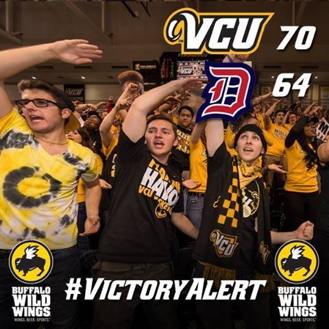 Buffalo Wild Wings #VictoryAlert #17 VCU defeats Duquesne, 70-64, for their 10th straight win and improve to 15-3 overall! Show this #VictoryAlert pic at any local Buffalo Wild Wings & get a free snack boneless wings w/any purchase for the next 48 hours.
