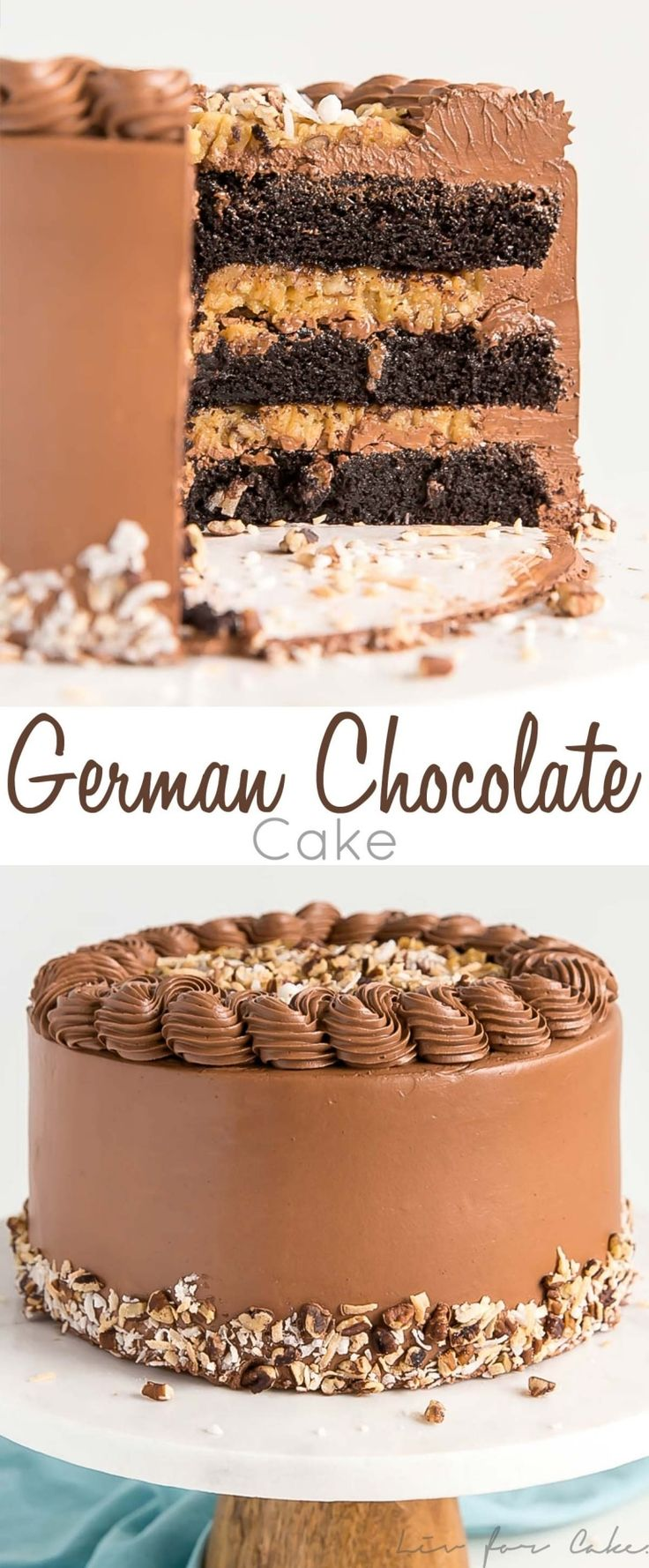 This classic German Chocolate Cake combines rich chocolate cake layers with a sw…