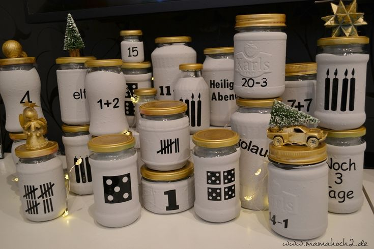 Advent calendar DIY idea made of glasses with free advent calendar numbers for you