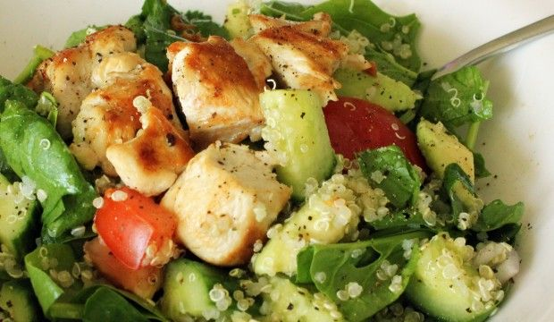 Quinoa Chicken Salad - chicken breast, cooked quinoa, spinach, medium tomatoes, cucumber, avocado, shallots, minced garlic clove, lemon juice, olive oil, sea salt - Strict Candida Diet