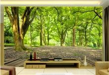 Moderno papel de parede Personalizado sala 3d papel de parede paisagem Verde floresta 3d papel de parede sala papel de parede foto(China (Mainland))