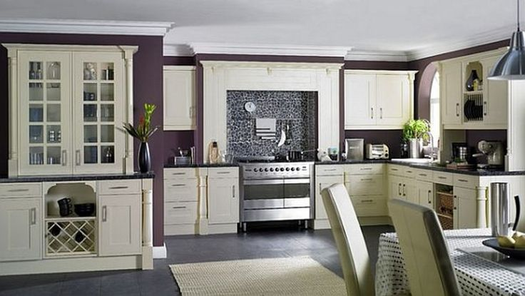 Contemporary Dark Purple Wall Kitchen With White Kitchen Cabinet