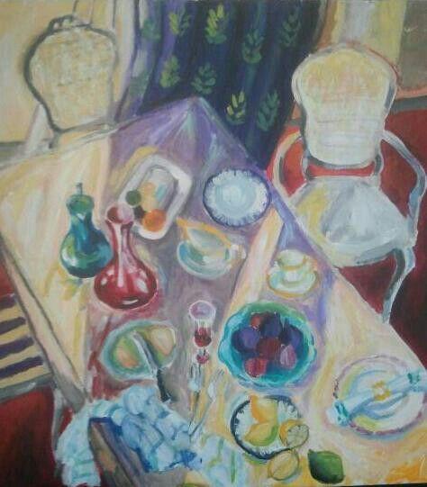"Mihaela Dulea ""Last Guests"" Acrylic on canvas 60/55cm 2014"
