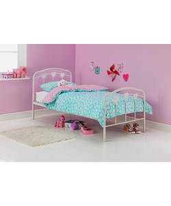Hearts White Single Bed Frame with Bibby Mattress.