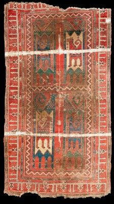 Historic Ilkhanid (Azerbaijan, Tabriz) / Seljuq (Anatolian) rug with animal design, 12th-13th Century, The Museum of Islamic Art, Qatar. The rug was previously in the Kircheim collection (Orient Stars). Anatolia or Caucasus, the rug has been carbon 14 dated to 1190-1300