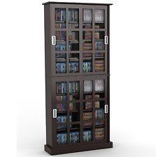 atlantic windowpane 720 cd u0026 dvd media storage cabinet in espresso new glass doorglass