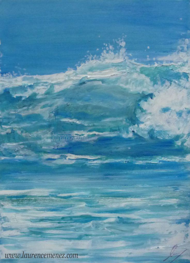 """""""Océan"""" toile peinte en peinture à l'huile, thème marin"""