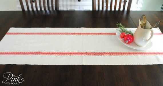 Farmhouse table runner Scandinavian stripe white by PinkPostcard, $32.00