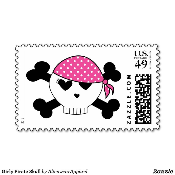 Girly Pirate Skull Postage Stamps