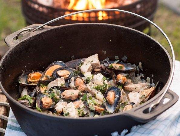"Fish potjie • Jennifer Matthews from Johannesburg sent us this Fish Potjie recipe. ""This recipe comes from an old magazine in the days when crayfish was readily available. Back then we made the potjie with crayfish and three to four types of fish."""