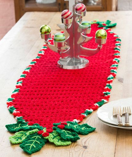Red Heart: Holly Trim Table Runner - free crochet pattern by Michele Wilcox
