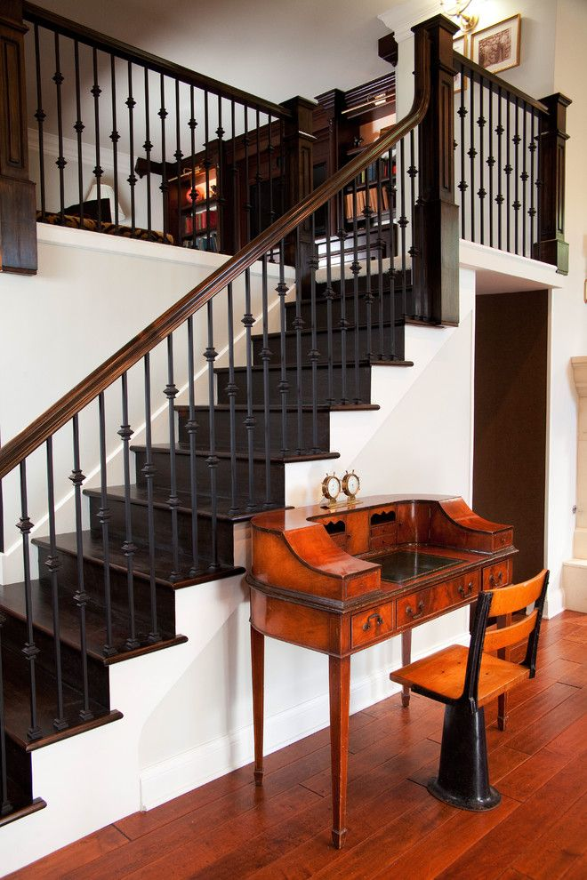wrought iron and dark wood