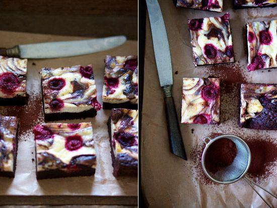 Chessecake brownie med hindbær