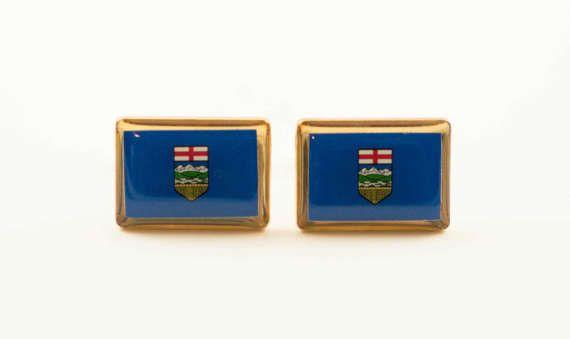 Alberta Flag Cufflinks by LoudCufflinks on Etsy