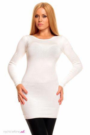 Rochie tricotata de culoare alba - Rochie mini tricotata, de culoare alba. Este decoltata rotund, are maneci lungi si este cambrata pe corp. Colectia Rochii de toamna iarna de la  www.rochii-ieftine.net