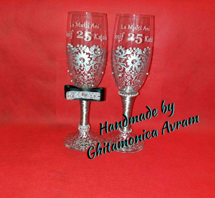 Pahare nuntă argint