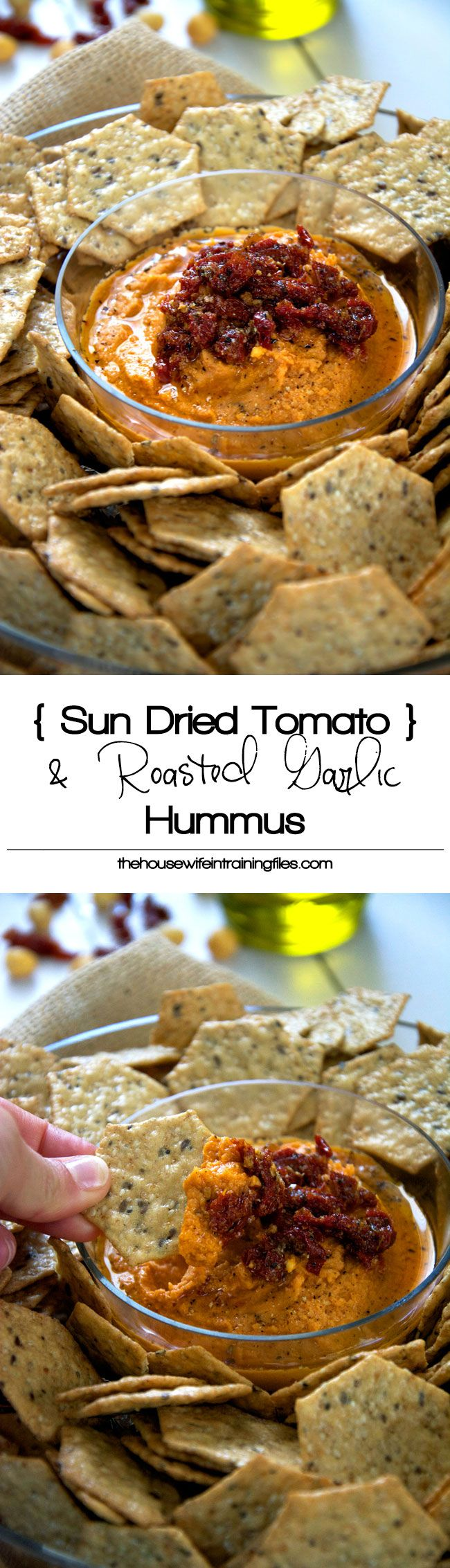 An ultra creamy and delicious hummus made with sun dried tomatoes and garlic comes, together in quickly and will be your favorite.